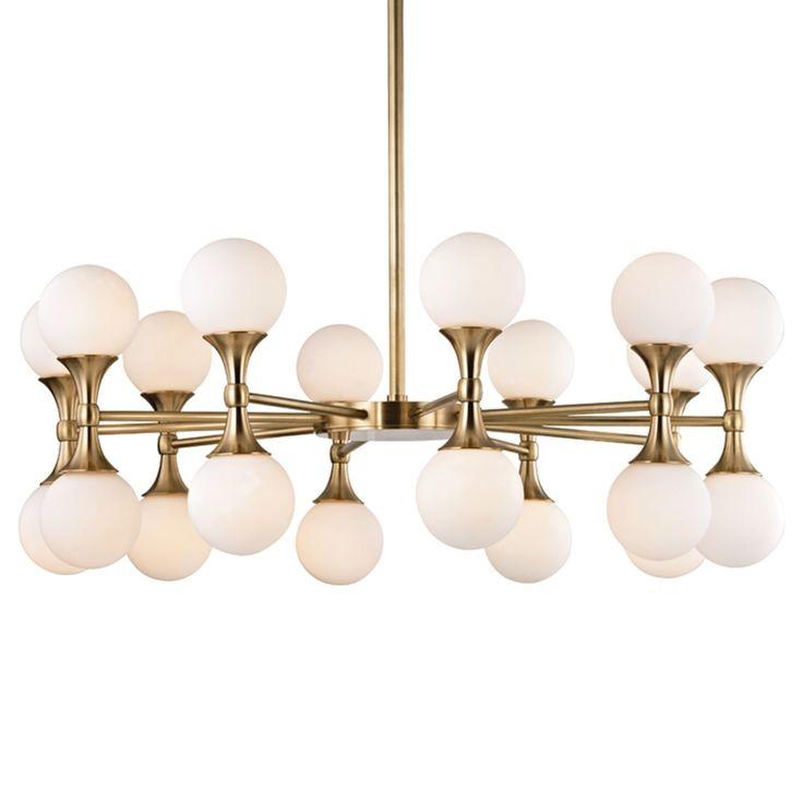 Hudson valley astoria 20 light aged brass chandelier aged brass beige off white glass