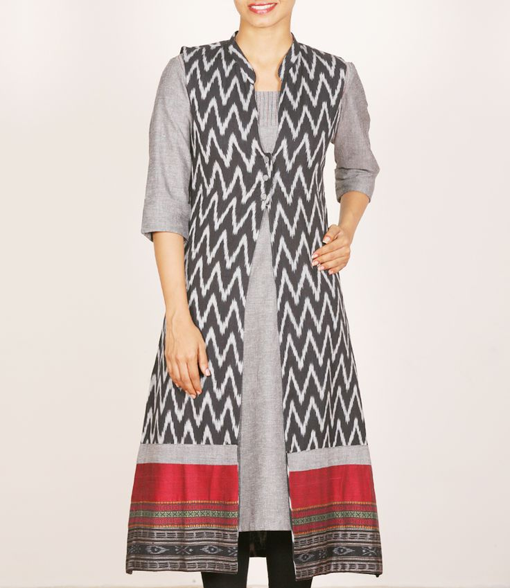 Black With White Ikat Overcoat Paired With Grey Kurti