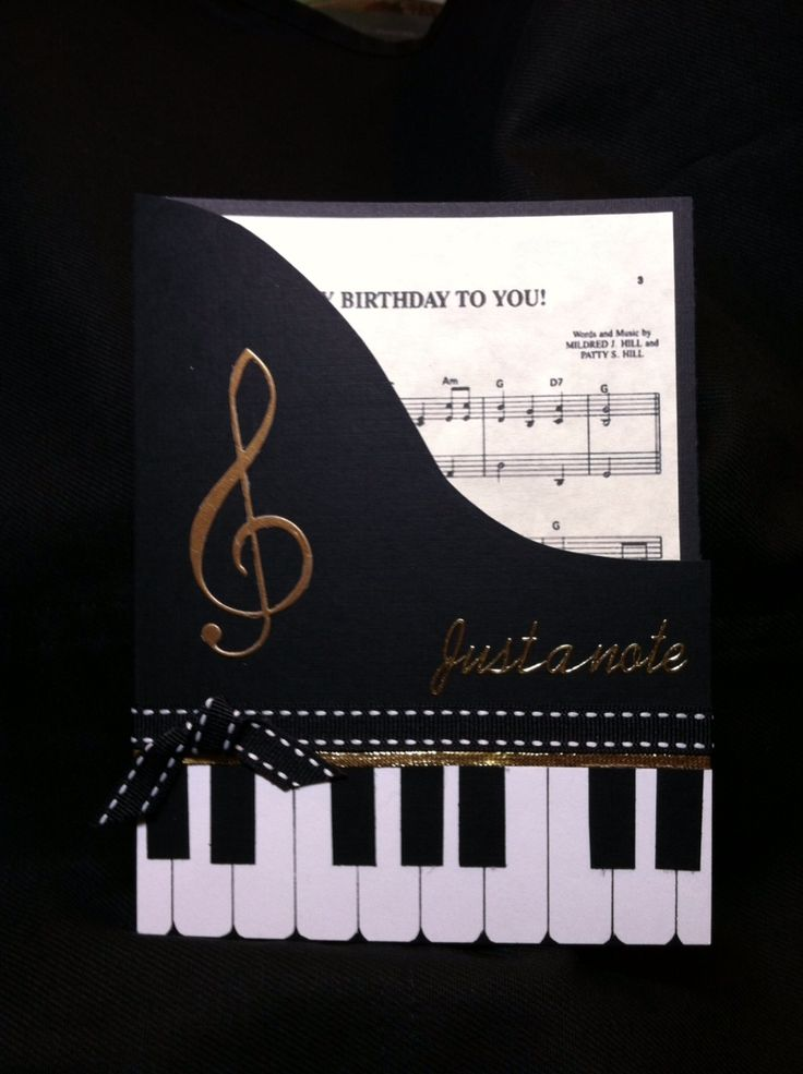 "Hand cut the piano design. Die's are from Memory Box. Rub-on ""Just a Note"" is from Marc Richards"