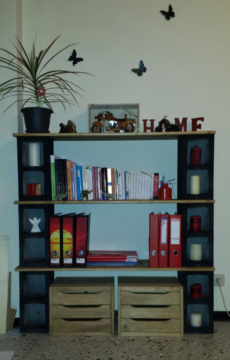 My 1st handmade bookshelf cinder blocks wood love the for Cinder block plant shelf