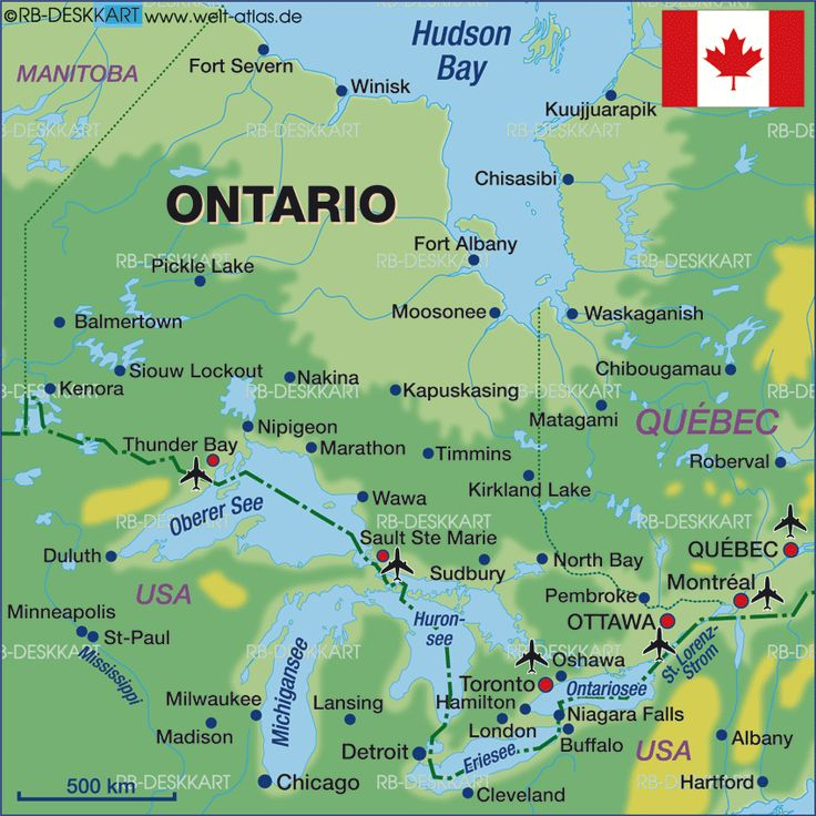 Image detail for -Map of Ontario (Canada) - Map in the Atlas of the World - World Atlas