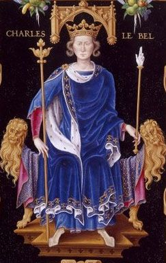 Charles IV of France (1294-1328) Son of Philip IV of France and Joan I of Navarre. Husband of Blanche of Burgundy, Marie of Luxembourg and Jeanne d'Evreux