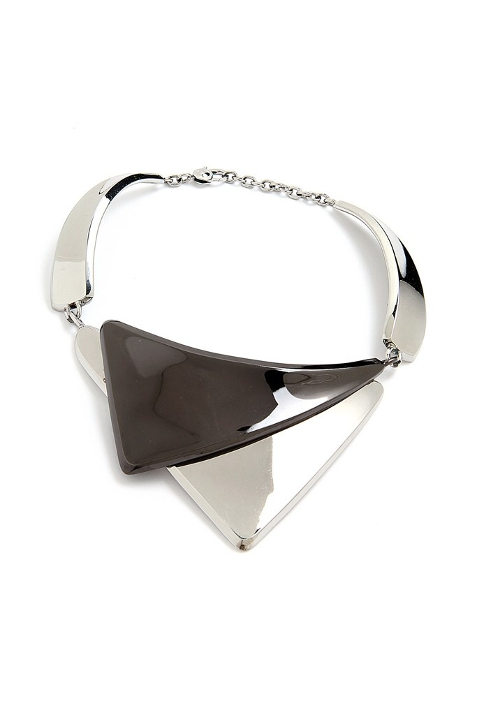 A silver and gunmetal-plated brass necklace from the French Cuff group.