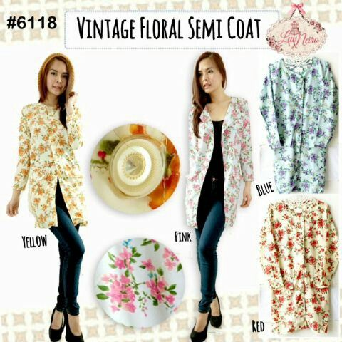 6118 floral semi coat seri 4 warna@ 65000