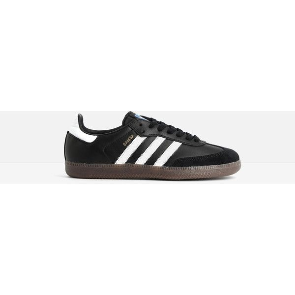 Adidas Adidas Samba Sneakers ($87) ❤ liked on Polyvore featuring shoes, sneakers, black, black leather trainers, urban sneakers, black sneakers, black rubber sole shoes and black trainers