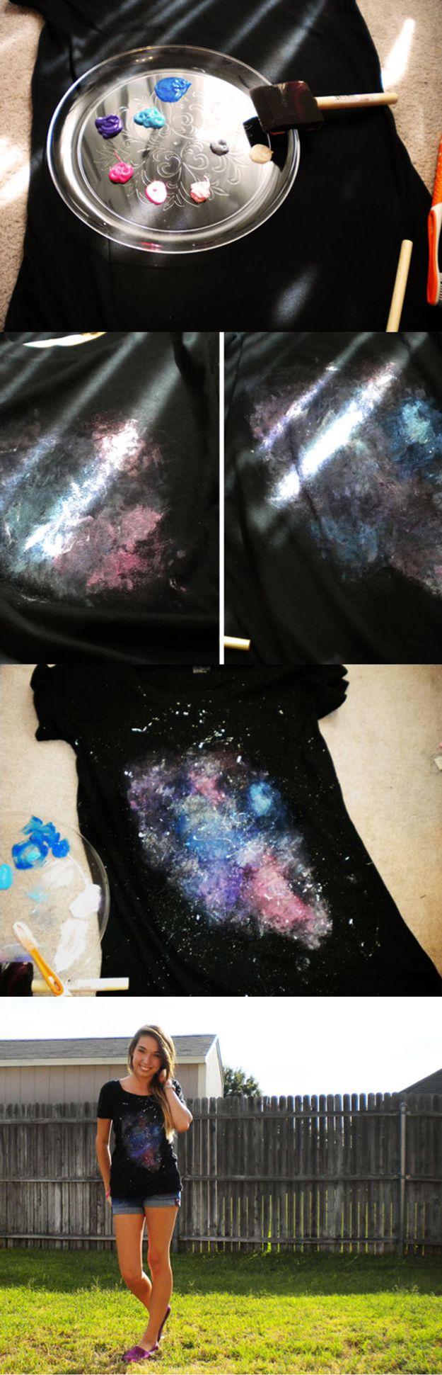 Galaxy Shirt   Cute Top Design Ideas for Teens by DIY Ready at  diyready.com/diy-clothes-sewing-blouses-tutorial/