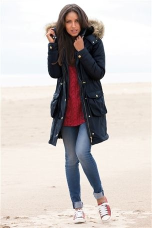 MUMMY'S OUTFIT. Now this would be a far more practical solution for those snowball fights! AND it still looks fab and stylish. Buy Navy Luxury Parka from the Next UK online shop