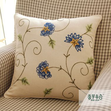 Blue Carnation Embroidery Pillow