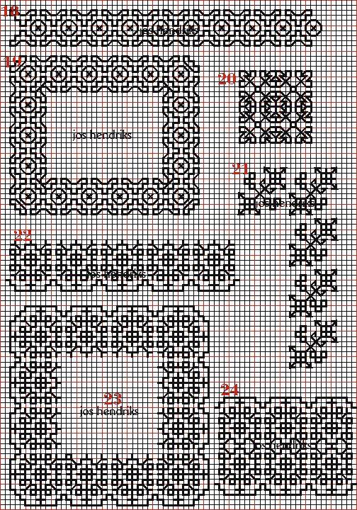 Borduren en borduurwerk:zwart borduren:vlakvullingen 14-24
