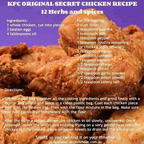 KFC Original Secret Chicken Recipe