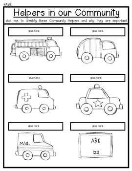 (sample page) Community Helpers & their vehicles. {Lift the Flip Activity![ Great for Young Learners. $