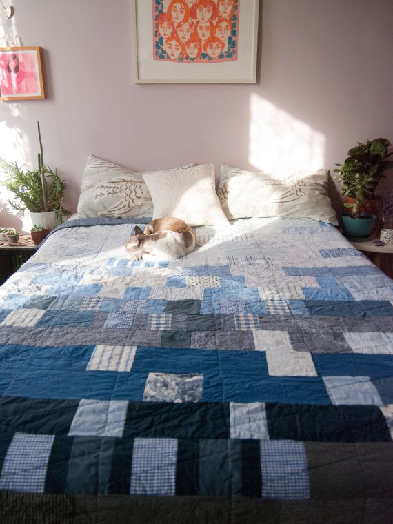 Blue Denim And Prints Gradient Quilt By Ginarockenwagner
