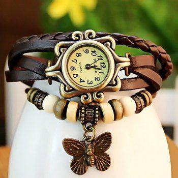 Mujeres Retro reloj de pulsera con colgante del diseño de la mariposa y Cuero Weaving correa