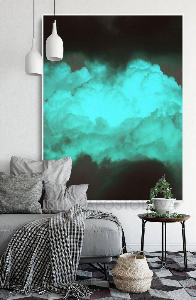 Black Teal Abstract Cloud Photography Print Turquoise Green