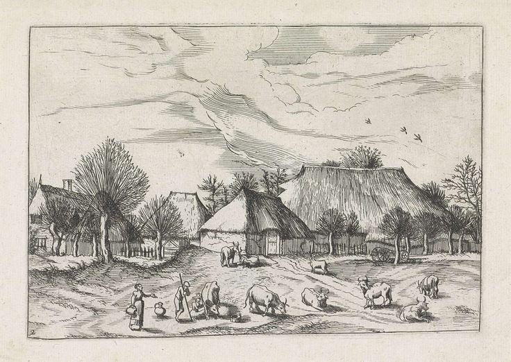 Johannes of Lucas van Doetechum | Landschap met boerderijen en een veehoeder, Johannes of Lucas van Doetechum, Meester van de Kleine Landschappen, Joannes Galle, 1559 - 1561 | Boerderijen met op de voorgrond een veehoeder en melkmeisjes bij de koeien.