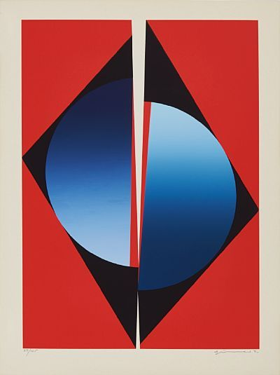 GUNNAR S. GUNDERSEN FORDE 1921 - BÆRUM 1983  Divided circle on a red background  Fargeserigrafi, 37/125. 59x42 cm  Signed lower right: Gunnar S.