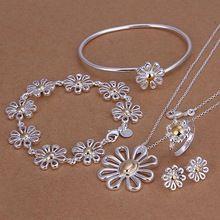 925 estampado plateado plata jewellry set Daisy pulsera anillo del pendiente del collar para las mujeres de plata esterlina de la manera sistemas de la joyería de(China (Mainland))