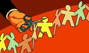 Illustration by Robert G Fresson, of a chain of paper people being cut with a pair of scissors eu human rights