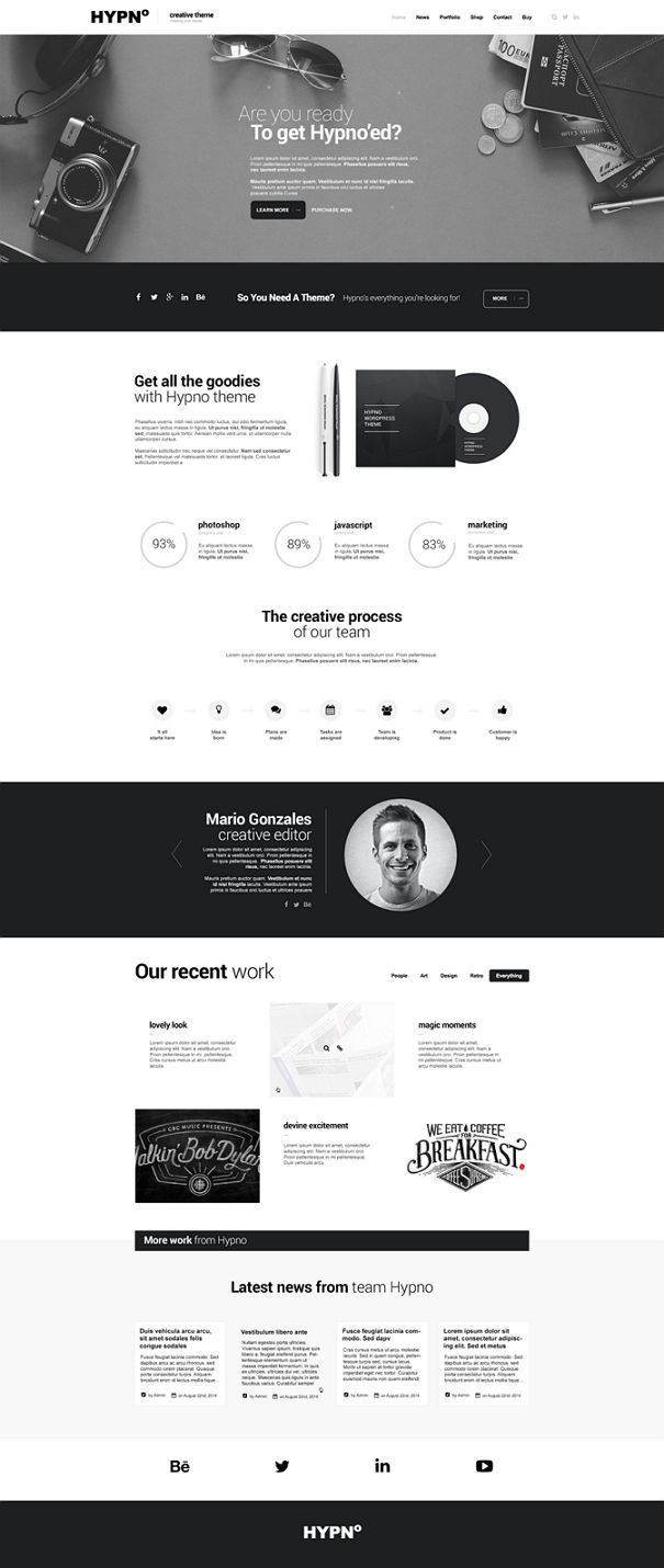 HYPNO is a clean and unique #HTML5 template, fully #responsive, easily customizable, based on popular #Bootstrap 3 grid. Hypno features Ajax driven portfolio, Slider Revolution, Flex Slider, Owl Carousel and much more. download now➩