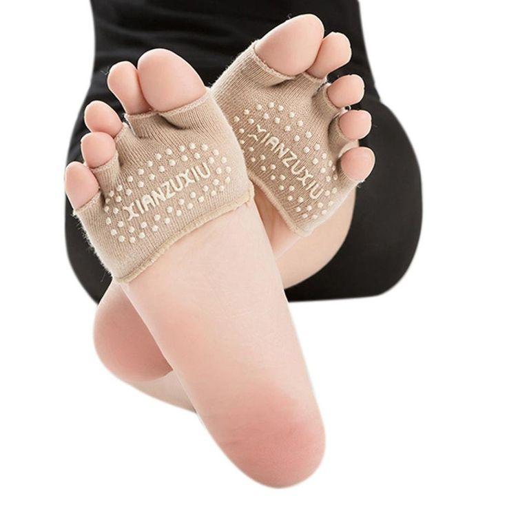 Sandistore Women Invisible Yoga Gym Non Slip Toe Socks Half Grip Heel Five Finger Socks (khaki). Material:Cotton Blendt!. Color:Black,Khaki,Hot pink,Gray,Blue,Purple,Pink. Hygienic alternative to bare feet. Super thin and lightweight. Five-toe design, Machine washable, air dry,With Socks Heel.