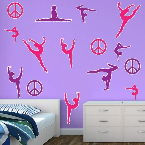 Restickable Gymnastics Silhouettes StickleMe Wall Decor - $55