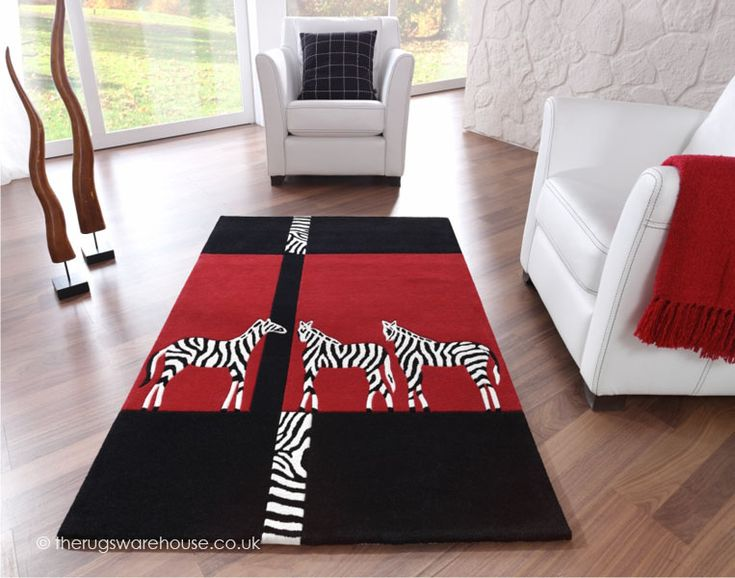 Kalahari Zebra Rugs In Black And Red Free Uk Delivery The Rug Er