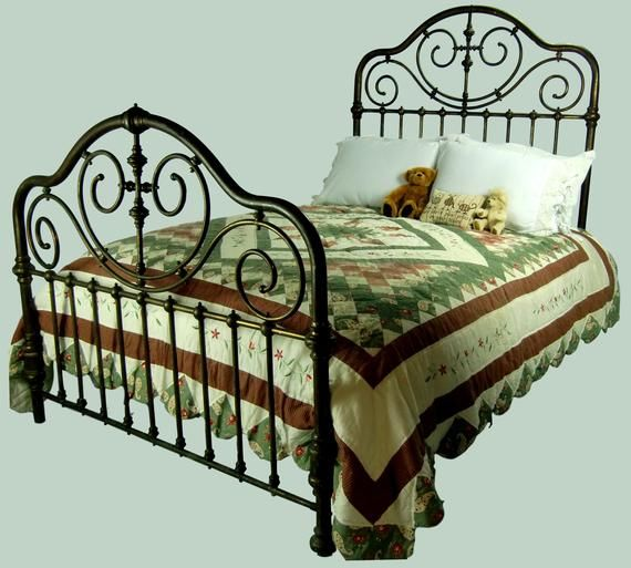 Full Antique Brass Bed Frame Double Size Double Bed Brass Etsy
