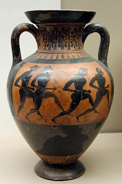 Anfora panatenaica, 530–520 a.C. British Museum, Londra.