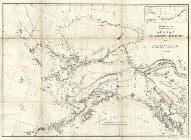 Very Early Huge Map of Alaska as U.S. Territory.  Alaska and Adjoining Territory 1869.  GPO, Lindenkohl, H. 1869 Wshington, DC.