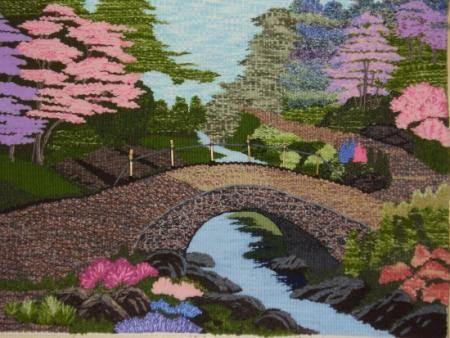 puente chino tapiz lana,urdimbre mixta