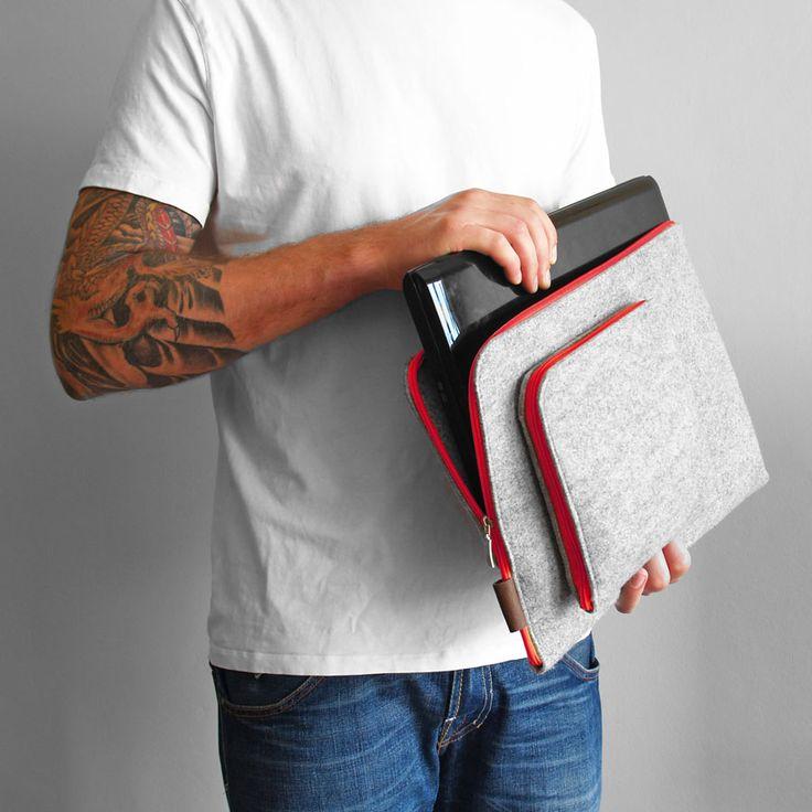 #laptopcover #red #zipper #feltcover macbook pokrowiec na laptopa z filcu czerwony zamek wszystkie rozmiary laptopów