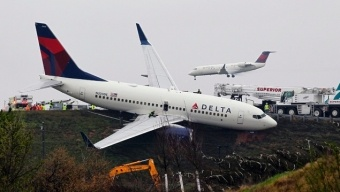 Delta 737 rolls off runway in Atlanta. No one hurt.    For more travel news: http://megamondotravel.com