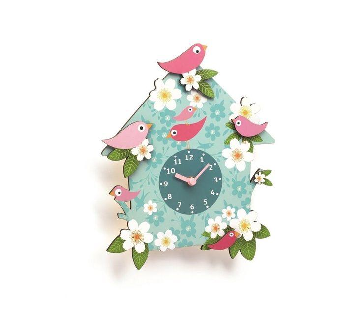 Veggklokke med fargerike blomster og fugler | Sprell - veldig fine leker og barneromsinteriør