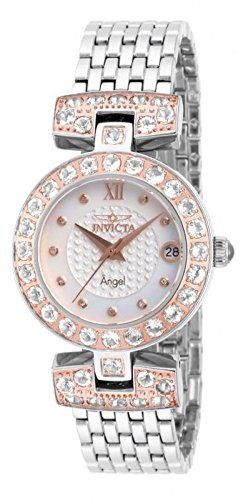 Invicta Angel Lady 32mm Stainless Steel and Rose Gold Plated Stainless Steel and Rose Gold White dial.  Bringing you the best luxury watches online at the most affordable prices for premium brand name watches: http://www.bestwatches1st.com/#!invicta-angel-watch-collection/kb04e