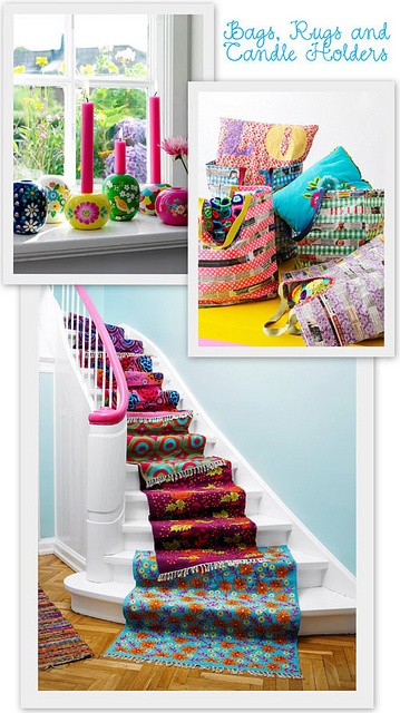 cute.  Rugs: Ideas, Design Interiors, Colors, Hotels Interiors, Stairs Runners, Home Stairs, Rugs Cleaners, House, Spring 2011