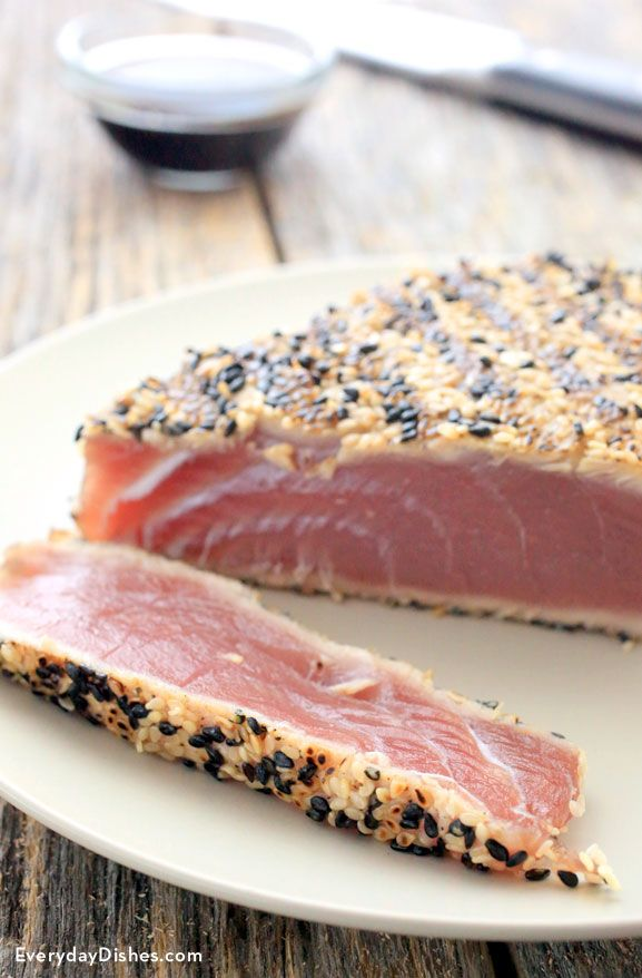 Sesame seared tuna steak is a tasty delicacy that's actually really easy to make at home. You just need to buy the finest sushi-grade tuna available since you'll be eating it rare.