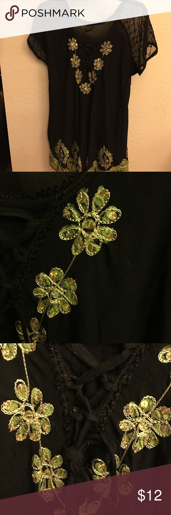 💫BNWOT TUNIC TOP💫 Never worn, stunning tunic, green beads, gold and green embroidery, sheer black lace on sleeves, very lightweight, great as tunic or coverup or even a mini if short. Hangs 301/2 inches from shoulder to bottom of hem 😊 California Woman Tops Tunics