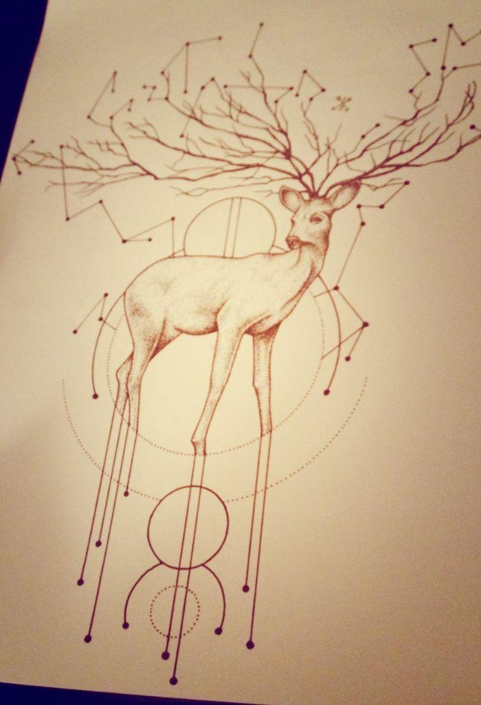 Deer dotwork tattoo design astrology
