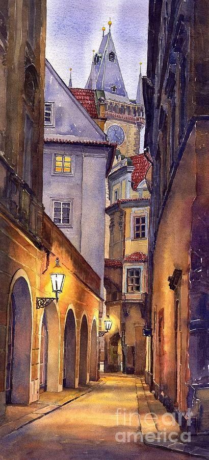 Prague Old Street  Painting  - Prague Old Street  Fine Art Print