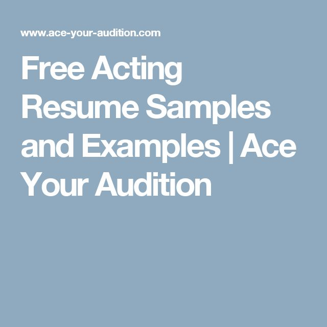 Free Acting Resume Samples and Examples | Ace Your Audition