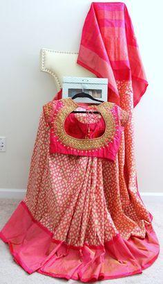 Light pink and Beige Pochampally Pattu Saree