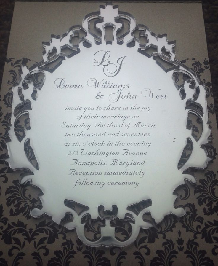 Custom engraved mirror Invitation by Pocketations