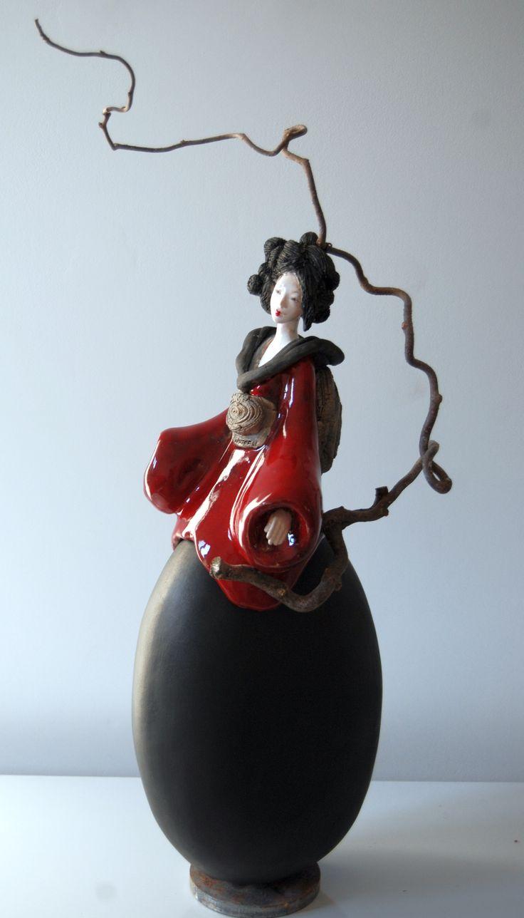 Sculpture Céramique Fille du Soleil Levant 2015 Pauline Wateau