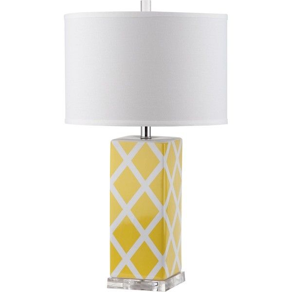 Safavieh Lighting 27-inch Garden Lattice Yellow Table Lamp ($80) ❤ liked on Polyvore featuring home, lighting, table lamps, yellow, yellow lights, colored light, yellow lamp shade, safavieh table lamps and safavieh
