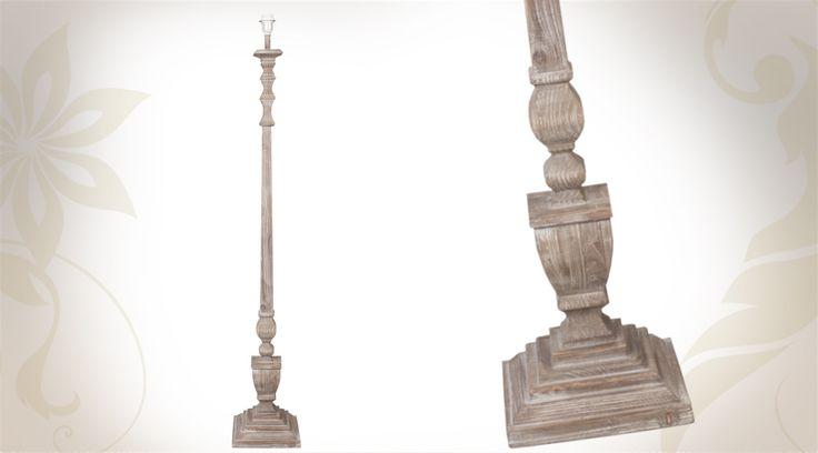 Pied de lampadaire en bois vieilli 156 cm