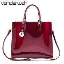 Vanderwah Марка глянцевые Большой Tote женщин сумки Высокое качество женские PU кожаные сумки письмо плеча Crossbody сумка сумки(China (Mainland))