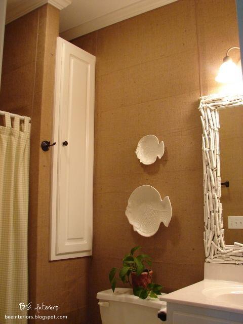 Hang Burlap Wall Covering With A Staple Gun Bathroom