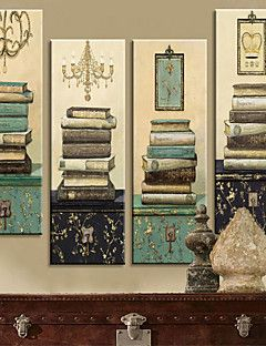 Stretched Canvas Print Vintage Still Life Books Set of 4 130... – AUD $ 114.39