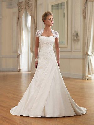 Neu Elfenbein Applikationen Brautkleider A-Linie Taft Hochzeitskleid in Kleidung & Accessoires, Hochzeit & Besondere Anlässe, Brautkleider | eBay