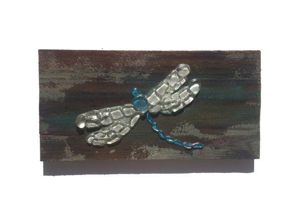 Meer-Glaskunst Dragonfly Wand hängen Meer Strand Haus Dekor Mosaik Libelle Glaskunst auf Holz Libelle Mosaik Glaswand Libelle Kunst